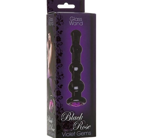 Black Rose Violet Gems Glass Wand