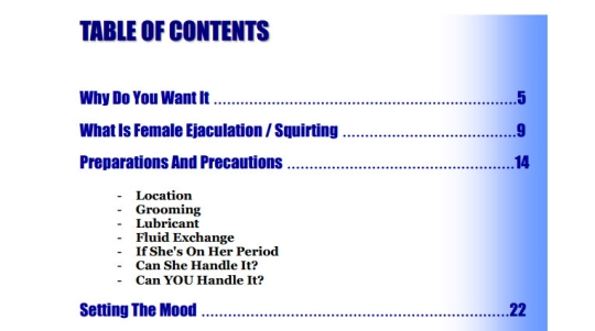 table of content from G-Spot Mastery