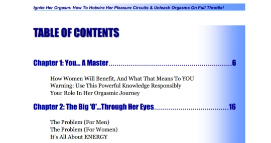 table of contents from Ignite her orgasm
