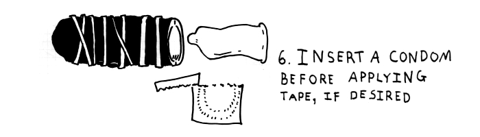 step-6-insert a condom before applying the tape if desired