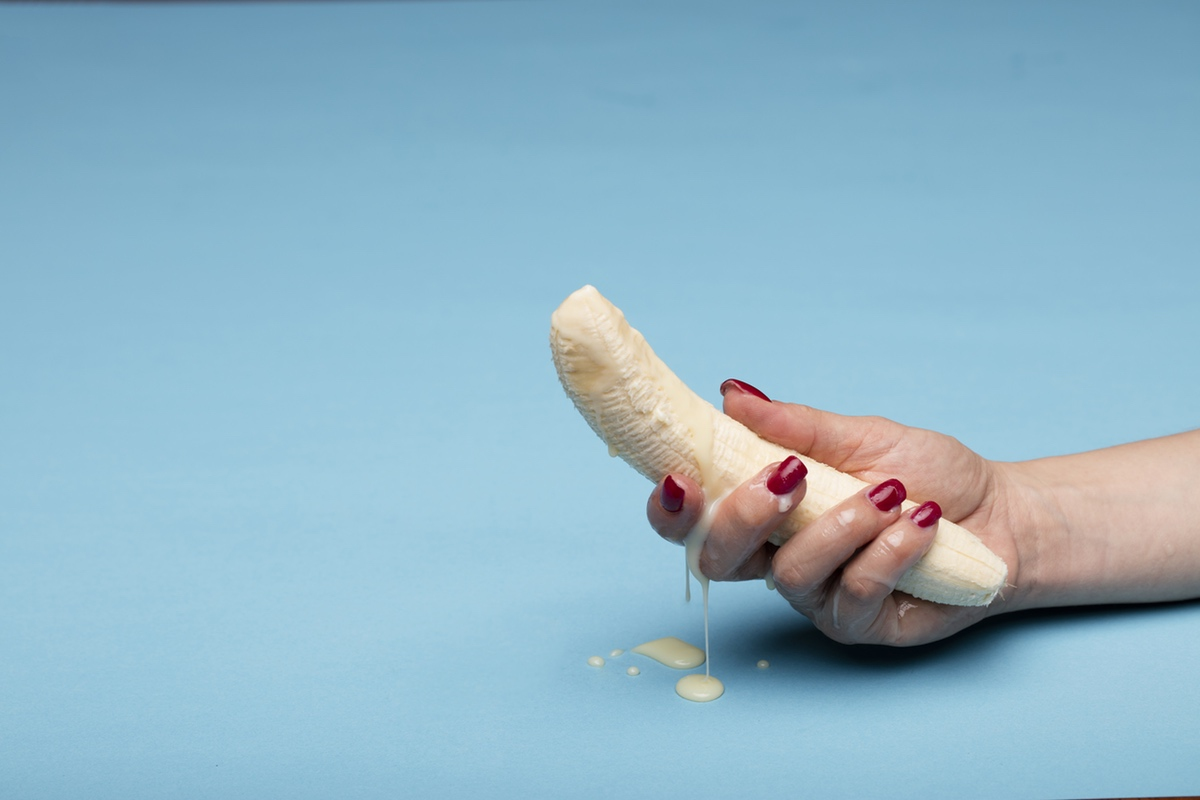 creamy banana erotic hand